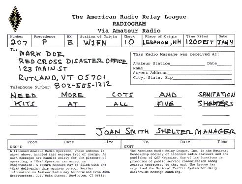 ARRL Radiogram